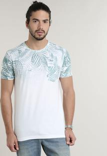 Camiseta Masculina Com Estampa De Folhagem Degradê Manga Curta Gola Careca Off White