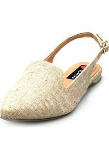 Sapatilha Love Shoes Bico Fino Slingback Juta Areia