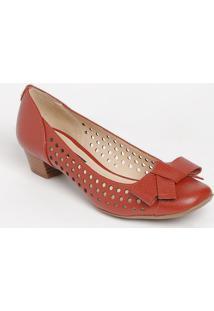 Sapato Tradicional Em Couro Com Microfuros- Laranja Escujorge Bischoff