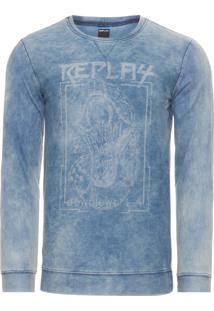 Blusa Masculina De Moletom Denim - Azul