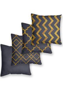 Kit 4 Capas De Almofadas Decorativas Own Geométricas Gold 45X45 - Somente Capa