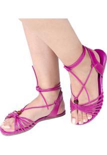 Sandália Rasteira Mercedita Shoes Amarração Metalizada Pink Tartaruga Ultra Conforto