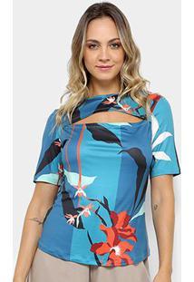 Blusa Morena Rosa Decote Redondo Feminina - Feminino-Azul+Laranja