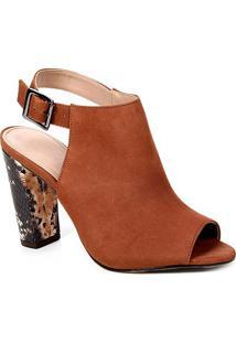 Sandal Boot Couro Shoestock Snake Salto Bloco Feminina - Feminino-Marrom