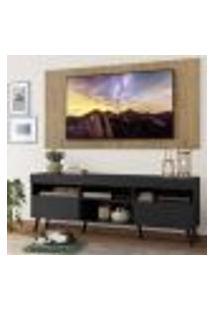 """Rack Com Painel Tv 65"""" Londres Multimóveis Pés Retrô E 2 Portas Preto/Rustic/Preto"""
