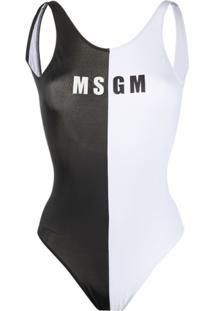 Msgm Maiô Com Logo Monocromático - Branco