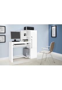 Mesa Para Computador/Escrivaninha Aroeira C/1 Porta Chave No Armário Branco Jcm