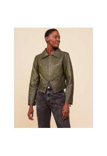 Amaro Feminino Jaqueta Leather Recorte Textura, Verde Militar