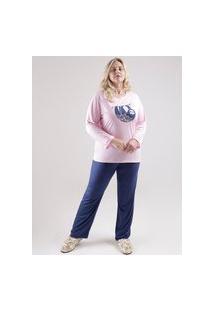 Pijama Longo Plus Size Feminino Rosa/Azul Marinho