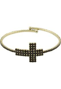 Bracelete Tudo Joias Cruz Folheada A Ouro Com Zircônias - Feminino-Dourado