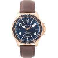 2748ff67fdf Relógio Nautica Masculino Couro Marrom - Napplh003 Vivara