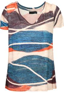 Camiseta Sacada Sand Bege/Azul