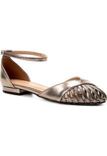 Sandália Shoestock Metalizada Feminina - Feminino-Prata