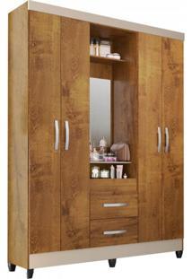 Guarda Roupa Casal Com Espelho 4 Portas 2 Gavetas Capelinha Light Atualle Móveis