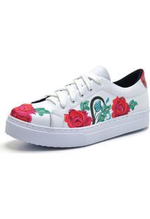 Kanui. Tênis Flor Da Pele Bordado Floral Branco c26d6e990beae