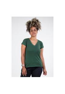 Camiseta Meio Swag Básica Gola V Verde