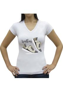 Camiseta Baby Look Casual Sport Walking Branca