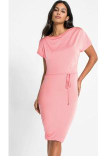 Vestido Gola Degagê Rosa Chiclete