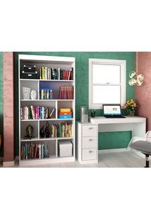 Escrivaninha Com 3 Gavetas E Estante Para Escritório-Ho-2957-Hecol - Branco