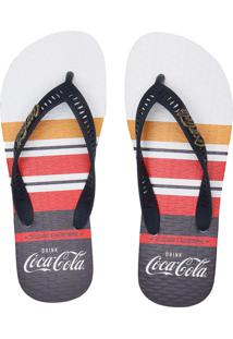Chinelo Coca Cola Shoes Listrado Branco