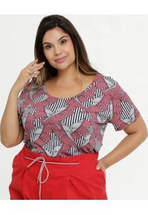 Blusa Feminina Estampada Plus Size Manga Curta Marisa
