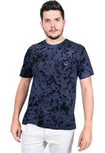 Camiseta Baiki Badhai Decote Careca Estonada Azul Marinho
