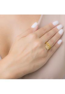 Anel Pingente Coração Cravejado Com Zircônias Cristal Banhado Em Ouro 18K 21