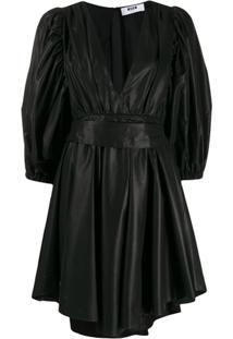 Msgm Vestido Mini Com Mangas Bufantes - Preto