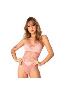 Body Feminino Renda Sensual Microfibra Sem Bojo Forrado Rosa