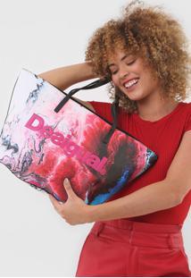 Bolsa Sacola Desigual Color Pintura Branca/Vermelho