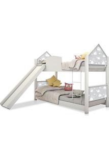 Beliche Infantil Casinha Prime Nuvem Cinza Com Escorregador Casah - Cinza - Dafiti