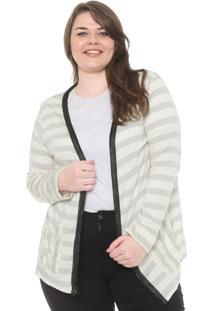 Cardigan Secret Glam Plus Size Aplicação Off-White/Preto