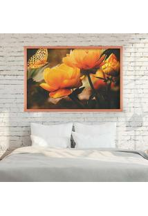 Quadro Love Decor Com Moldura Yellow Flowers Rose Metalizado Médio