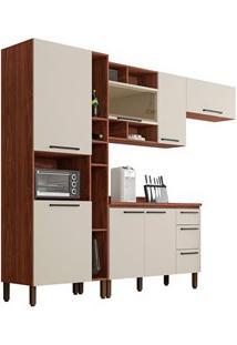Cozinha Modulada Compacta 5 Peças Viv Concept C01 Nogueira/Off White -