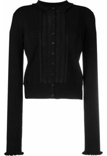 See By Chloé Ribbed-Knit Ruffled Cardigan - Preto
