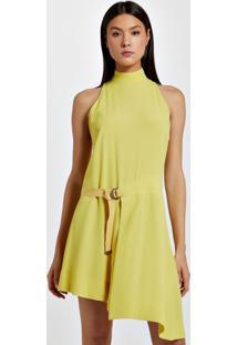 Vestido De Crepe Assimétrico Curto Amarelo Yoko - 36