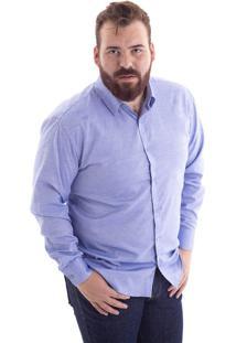 Camisa Comfort Plus Size Azul Bic 1486-33 - G1