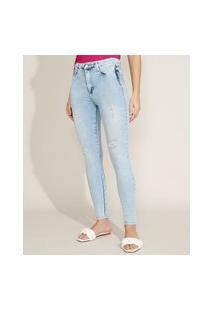 Calça Jeans Feminina Sawary Super Skinny Push Up Super Lipo Cintura Alta Destroyed Azul Claro