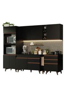 Cozinha Completa Madesa Reims 270002 Com Armário E Balcão Preto Cor:Preto