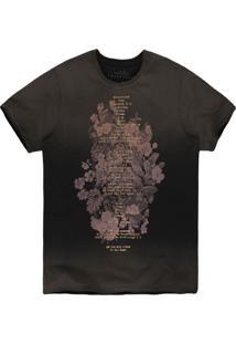 Camiseta Khelf Floral Degradê Chumbo