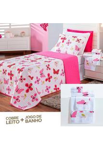 Kit Dourados Enxovais Combo Cobre Leito + Jogo De Banho Butterfly Pink Solteiro 07 Peças Dupla Face 150 Fios