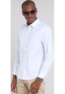 Camisa Masculina Slim Estampada Mini Print De Poá Manga Longa Off White