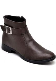 Bota Casual Cano Curto Bellatrix Mac Point Feminina - Feminino-Café