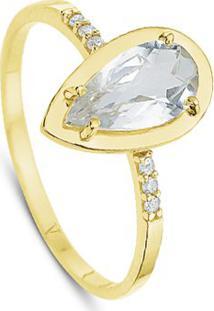 Anel Ouro Amarelo Cristal E Diamantes