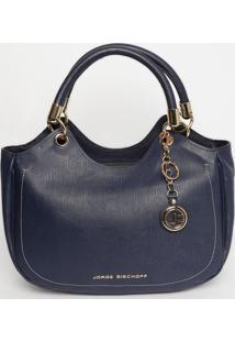 Bolsa Texturizada Em Couro - Azul Marinho & Dourada Jorge Bischoff