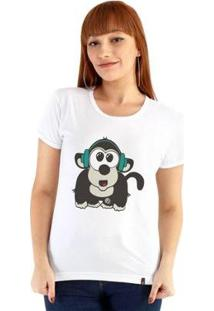 Baby Look Ouroboros Manga Curta Monkey Singer - Feminino-Branco
