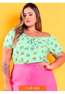 Blusa Ombro A Ombro Com Amarração Flores Verde