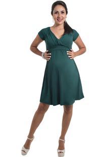 Vestido Amamentação Drapeado Mundo Gestante Verde