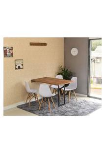 Conjunto De Mesa Dobrável Retrátil 120 X 75 Noronha + 4 Cadeiras Eiffel - Branca