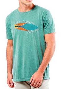 Camiseta Masculina Sandro Clothing Prancha Verde Água Estonada